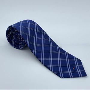 Tommy Hilfiger Blue Grid Panel Men's Silk Tie